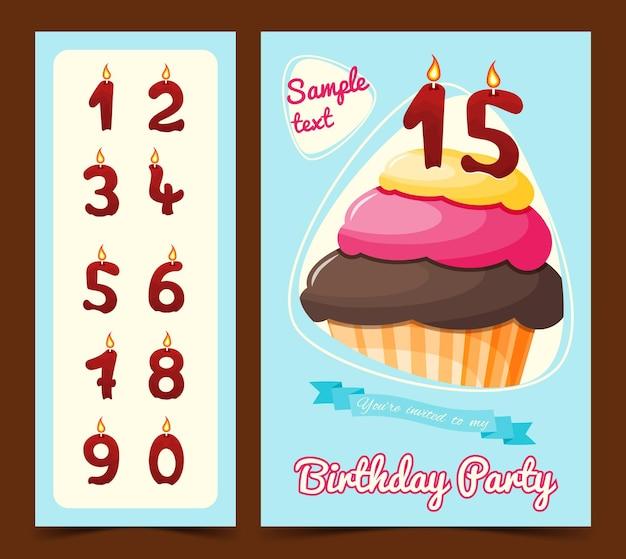 Cartão de feliz aniversário com bolinho em estilo cartoon