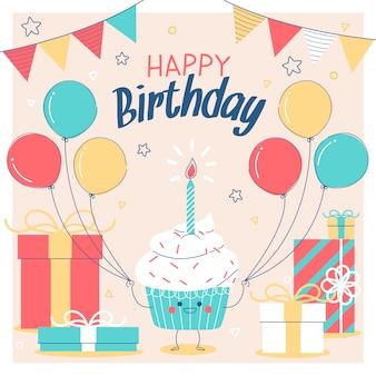 Cartão de feliz aniversário com bolinho
