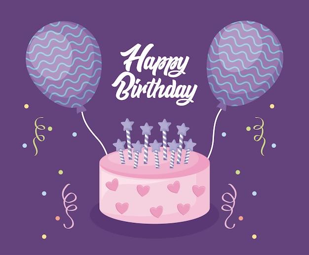 Cartão de feliz aniversário com bolo doce e balões de hélio
