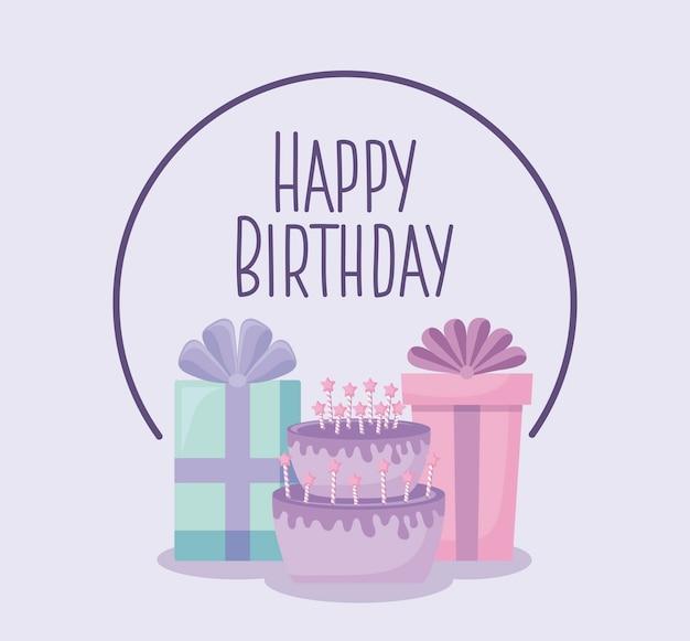 Cartão de feliz aniversário com bolo doce e caixas de presente