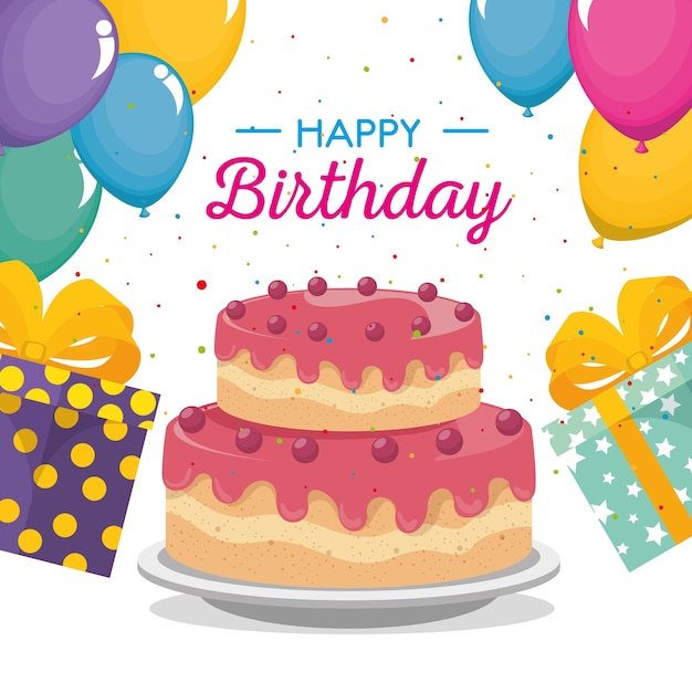 Cartão de feliz aniversário com bolo doce e presentes