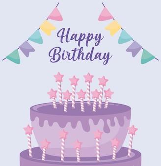 Cartão de feliz aniversário com bolo doce