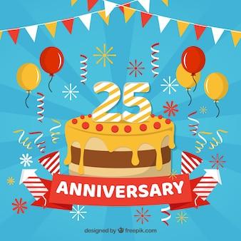 Cartão de feliz aniversário com bolo e balões