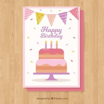 Cartão de feliz aniversário com bolo e bandeirolas