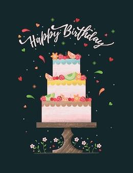 Cartão de feliz aniversário com bolo e flor