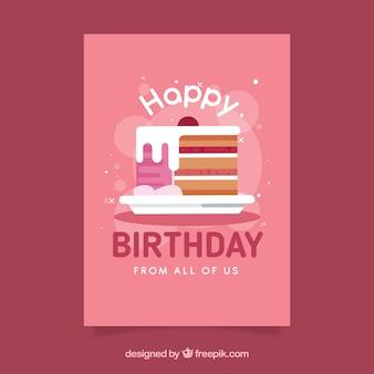 Cartão de feliz aniversario com bolo em estilo plano