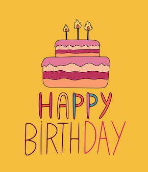 Cartão de feliz aniversário com bolo ilustrado em fundo amarelo.
