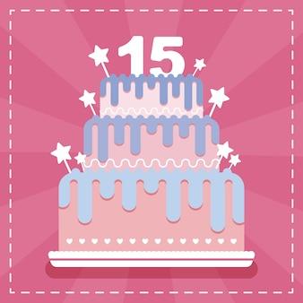 Cartão de feliz aniversário com bolo para o 15º aniversário