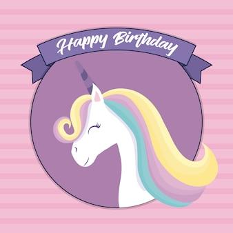Cartão de feliz aniversário com cabeça de unicórnio fofo
