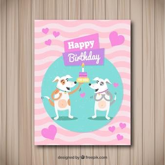 Cartão de feliz aniversario com cães em estilo plano