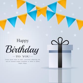 Cartão de feliz aniversário com caixa de presente e bandeira