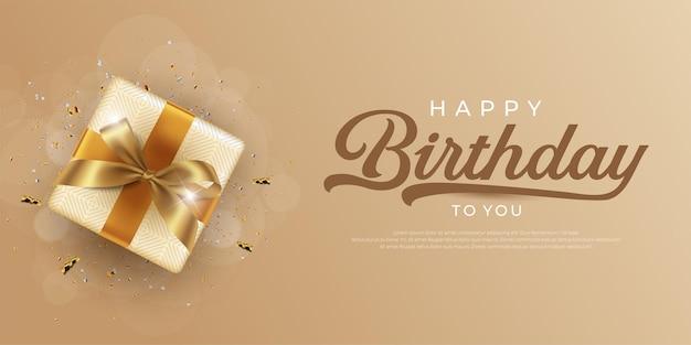 Cartão de feliz aniversário com caixa de presente