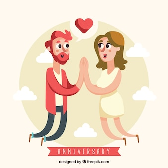 Cartão de feliz aniversário com casal fofo