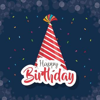 Cartão de feliz aniversário com chapéu de festa