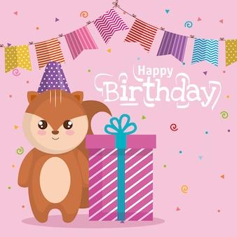 Cartão de feliz aniversário com chipmunk