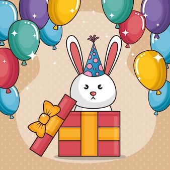 Cartão de feliz aniversário com coelhinha