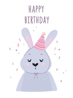 Cartão de feliz aniversário com coelho fofo