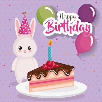 Cartão de feliz aniversário com coelho