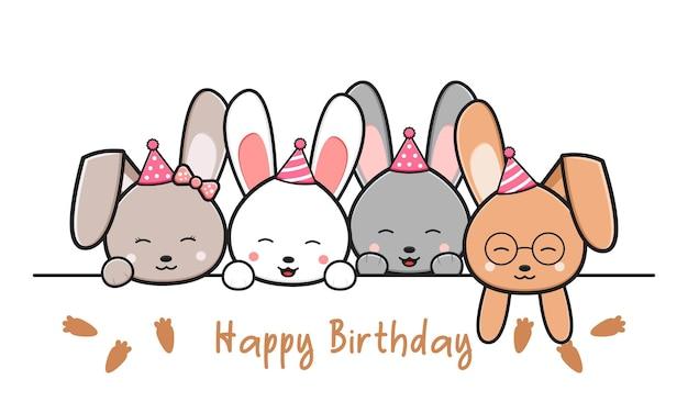 Cartão de feliz aniversário com coelhos bonitos doodle ilustração dos desenhos animados estilo cartoon plana