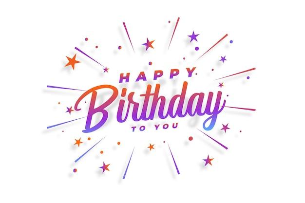 Cartão de feliz aniversário com confete de estrelas a rebentar