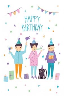 Cartão de feliz aniversário com convidados engraçados e gato. saudações de amigos. ilustração, cartão postal dos desenhos animados.