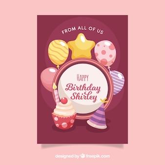 Cartão de feliz aniversario com cupcake em estilo plano
