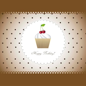 Cartão de feliz aniversário com cupcake