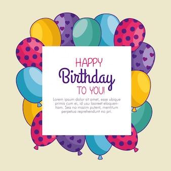 Cartão de feliz aniversário com decoração de balões