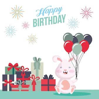 Cartão de feliz aniversário com desenho de ilustração vetorial de cena de festa de coelho e presentes