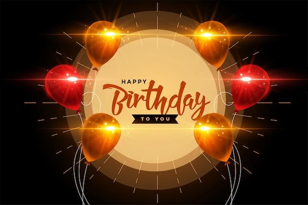 Cartão de feliz aniversário com design brilhante