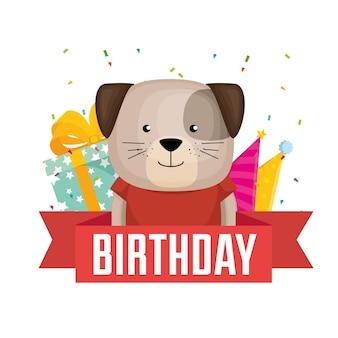 Cartão de feliz aniversário com design de ilustração vetorial de cão fofo