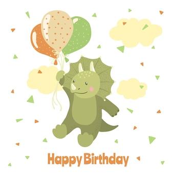 Cartão de feliz aniversário com dinossauro bonito dos desenhos animados.