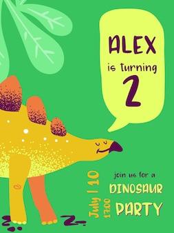 Cartão de feliz aniversário com dinossauro divertido, anúncio de chegada de dino, saudações em ilustração vetorial
