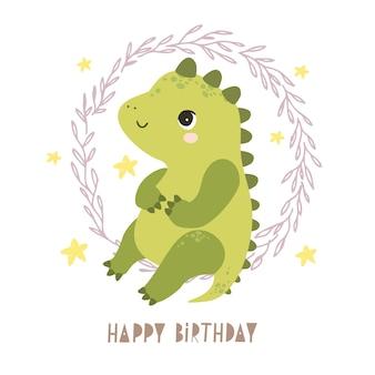 Cartão de feliz aniversário com dinossauro fofo