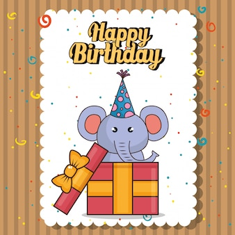 Cartão de feliz aniversário com elefante fofo