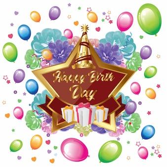 Cartão de feliz aniversário com estrela, flores e balões