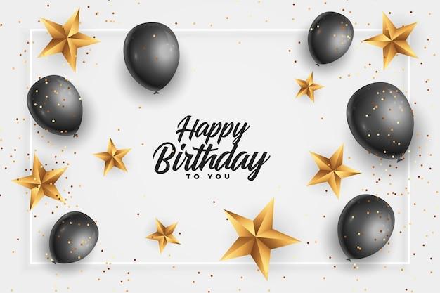 Cartão de feliz aniversário com estrelas douradas e balões pretos