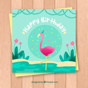 Cartão de feliz aniversario com flamenco em estilo plano