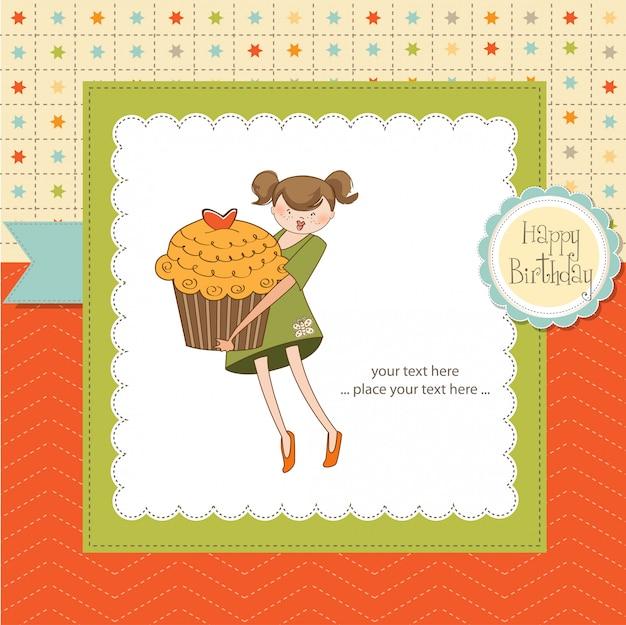 Cartão de feliz aniversário com garota e bolo de xícara