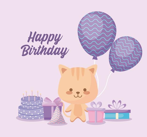 Cartão de feliz aniversário com gato fofo