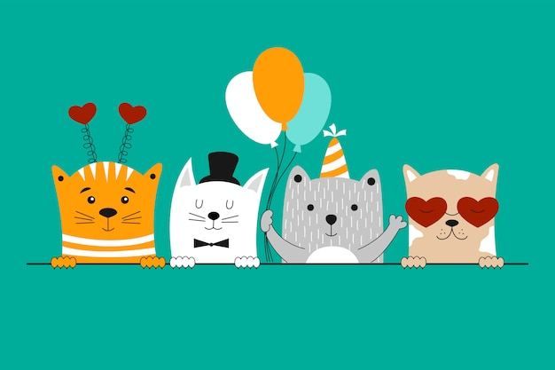 Cartão de feliz aniversário com gatos bonitos.