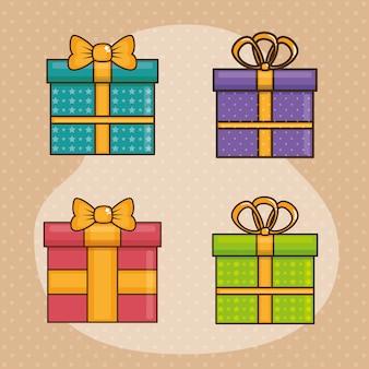 Cartão de feliz aniversário com giftboxes