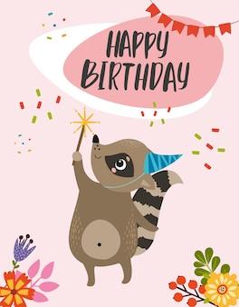 Cartão de feliz aniversário com guaxinim na tampa