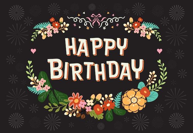 Cartão de feliz aniversário com guirlanda floral de flores. mão-extraídas ilustração vetorial.