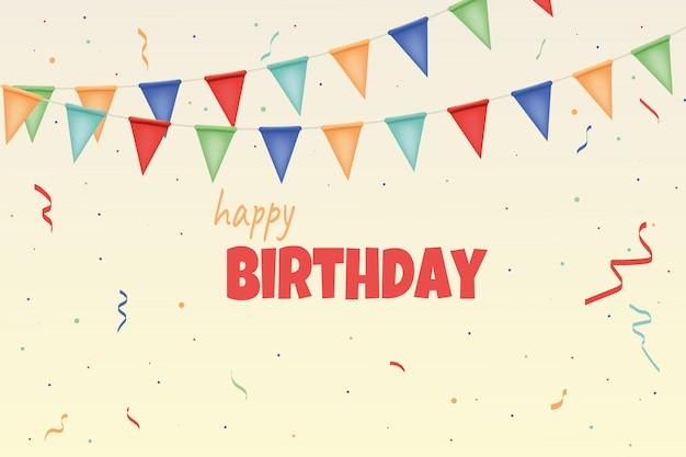 Cartão de feliz aniversário com guirlandas de papel colorido e confetes.