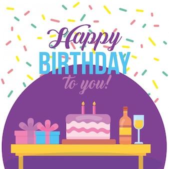 Cartão de feliz aniversário com ilustração de bolo doce