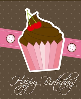 Cartão de feliz aniversário com ilustração em vetor bolo cup