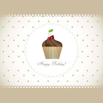 Cartão de feliz aniversário com ilustração vetorial de bolinho