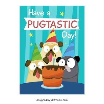 Cartão de feliz aniversario com ilustração