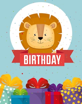 Cartão de feliz aniversário com leão fofo